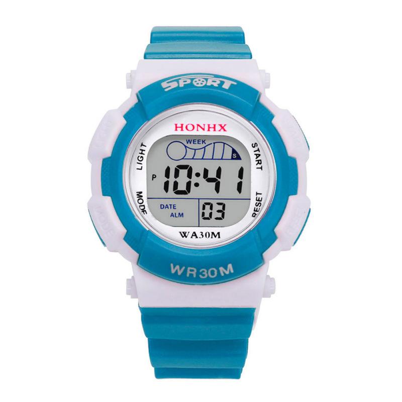 Nơi bán Child Led Digital School Sports Waterproof Alarm Wristwatch (Light Blue) - intl