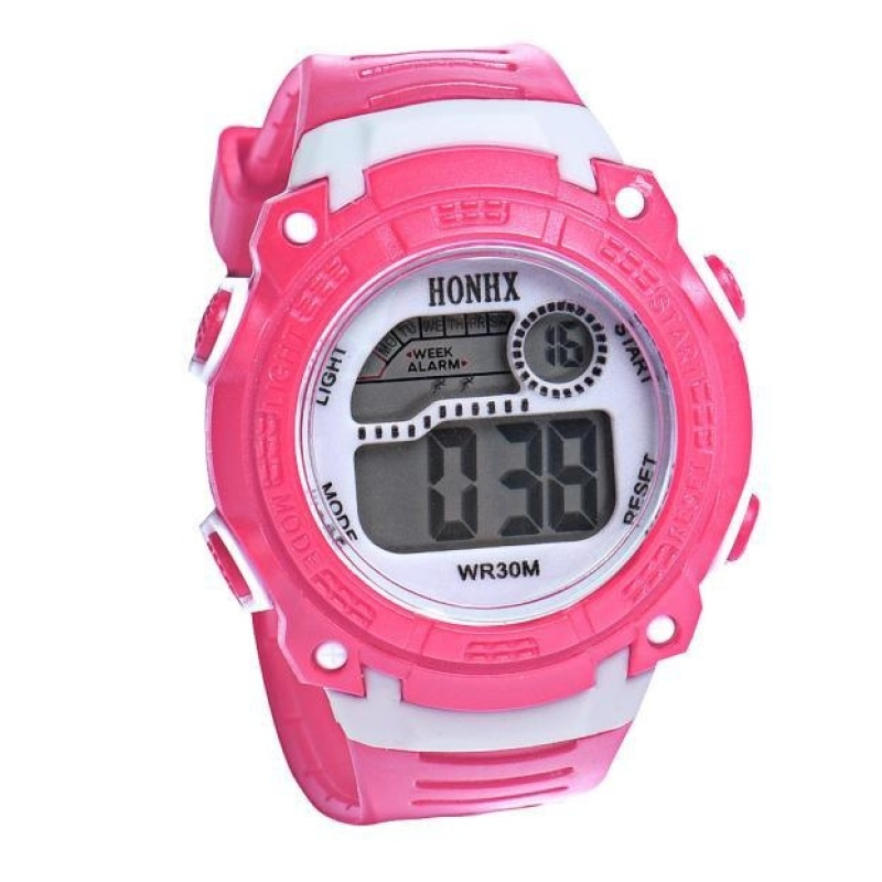 Nơi bán Children Girls Digital LED Quartz Alarm Date Sports Wrist Watch PK - intl