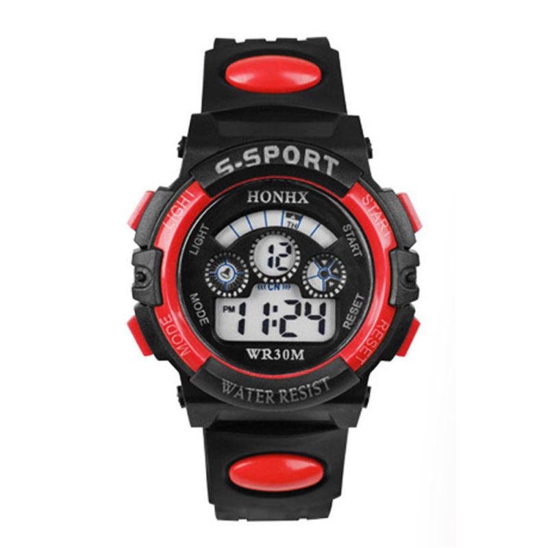 Chống thấm nước của Đồng hồ đeo tay màn hình Led quai nhựa màu đỏ dành cho Trẻ Nhỏ kỹ thuật số chống thấm nước bán chạy