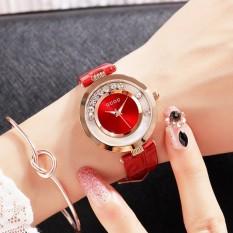 """Nơi Bán [COI KÌA""""] Đồng hồ nữ GUOU dây da, núm đá xanh- mặt có đá chạy thời trang (màu đỏ)-BTC0425-do"""