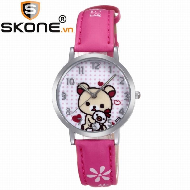 Combo 02 đồng hồ bé gái SKONE - dây da 3176-1 bán chạy