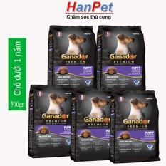 (Combo 5 gói) Thức ăn dạng hạt cao cấp GANADOR PUPPY (dành cho chó dưới 1 năm tuổi) – gói 500gr (hanpet 209b)