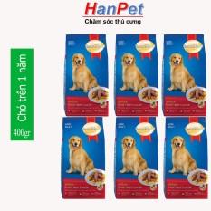 (Combo 6 gói) Thức ăn dạng hạt cao cấp Smartheart Adult (dành cho chó trên 1 năm tuổi) – mỗi gói 400g (hanpet 206c)