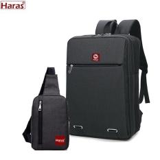 COMBO Balo Laptop HARAS Cylinder HR179HR147(ĐEN)
