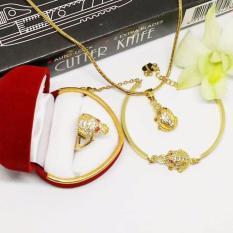 Combo trang sức nữ cóc ngậm tiền phong thủy (nhẫn, lắc tay, vòng cổ)