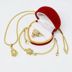 Combo trang sức nữ cóc ngậm tiền tài lộc (nhẫn, lắc tay, vòng cổ)