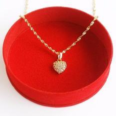 Combo trang sức nữ gồm vòng cổ trái tim, lắc tay cỏ 4 lá