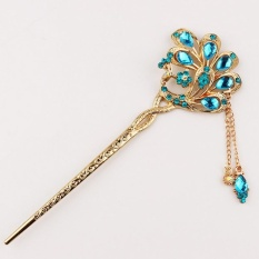 Crystal Peacock Hair Stick with Sparkly Rhinestone Tassel for Women – intl