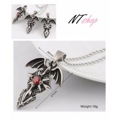 Dây chuyền hợp kim đôi cánh thiên thần khảm Ngọc Đỏ phong cách Vampire Diary NL31
