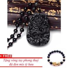 Giá Niêm Yết Dây chuyền nam đá phong thuỷ mặt rồng đen MDH717, tặng vòng tỳ hưu mix đá đen