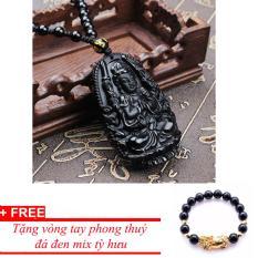 Dây chuyền nam đá phong thuỷ phật Thiên Thủ Thiên Nhãn, tặng vòng đá đen mix tỳ hưu