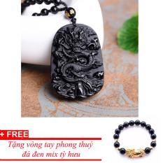 Dây chuyền nam mặt rồng đen đá phong thuỷ may mắn TPO717 – tặng vòng tỳ hưu đá đen
