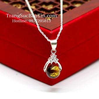 Dây Chuyền Nữ Đá Mắt Hổ Vàng Khắc KInh Phật Phong Thủy BẢO TÍN(Vàng)