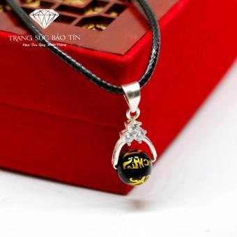 Dây Chuyền Nữ Đá Obsidian Đen Khắc Kinh Phật Phong Thủy BẢO TÍN (Đen)