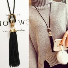 Bảng Giá Dây chuyền nữ dáng dài nút thắt lò so tua rua phong cách Hàn Quốc MYL-CL361(Đen)