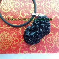 Địa Chỉ Bán Dây Chuyền Tỳ Hưu Đá Obsidian Đen Phong Thủy mặt 36x21mm