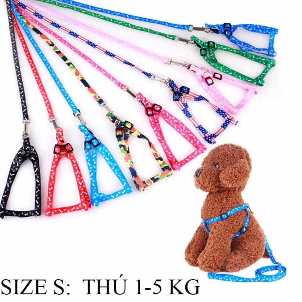 Dây dắt chó mèo họa tiết, Phụ kiện chó mèo- Thú từ 1-5 kg (Size S) – Dây dắt 004 nhỏ