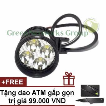 Đèn pha led trợ sáng xe máy phượt L4 GNG + Tặng dao ATM