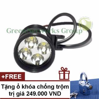 Đèn pha led trợ sáng xe máy phượt L4 GNG + Tặng ổ khoá chống trộmbáo động
