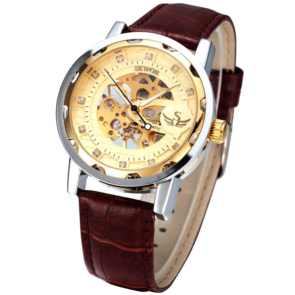 Đồng hồ automatic nam dây da SEWOR SE6886V (Nâu mặt đính đá)