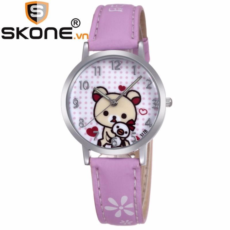 Đồng hồ bé gái hãng SKONE, máy Quartz Nhật, dây da 3176 bán chạy
