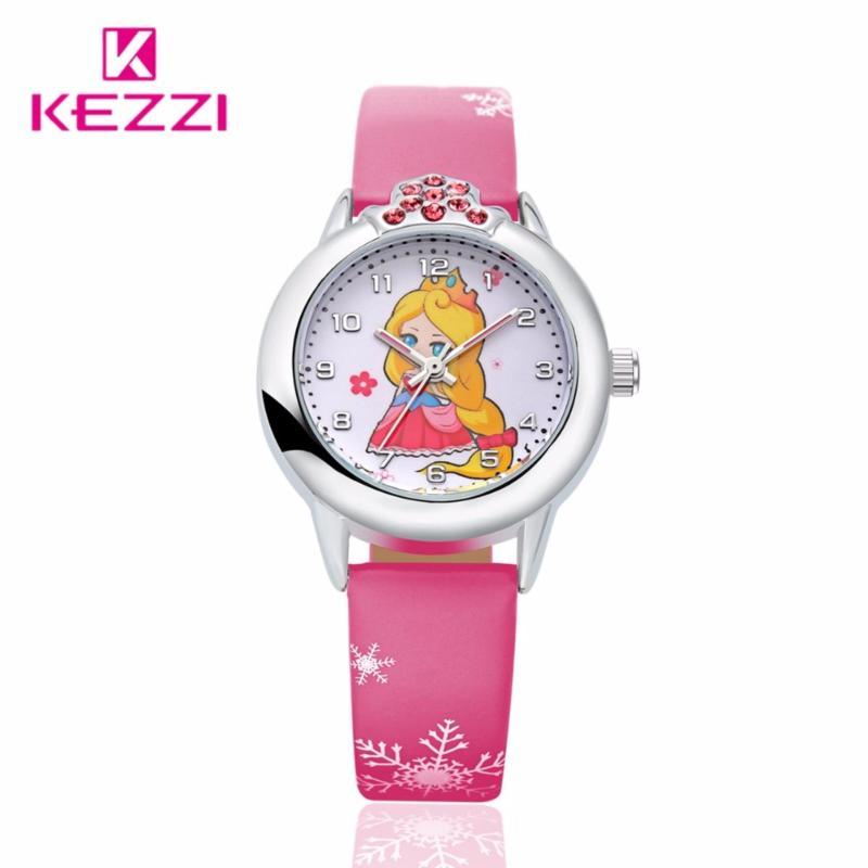 Đồng hồ bé gái Kezzi búp bê xinh xắn dây da cao cấp HongKong HHN-K1128(Đỏ) bán chạy