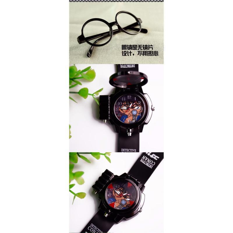 Đồng hồ bé trai dây nhựa hình Conan + 1 CẶP KÍNH THÁM TỬ bán chạy