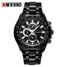 Đồng hồ cao cấp Curren 8023 dây đen mặt đen