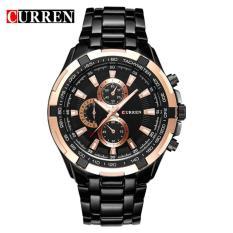 Đồng hồ cao cấp Curren 8023 dây đen mặt vàng