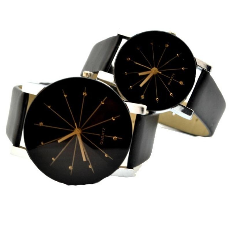 Nơi bán Đồng hồ cặp dây da kính 3D TTP (Đen kim vàng)