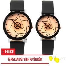 Đồng hồ cặp dây da Thạch Anh Tam Giác TimeZone (Dây Đen, Mặt Xám) + Tặng Kèm Mắt Kính