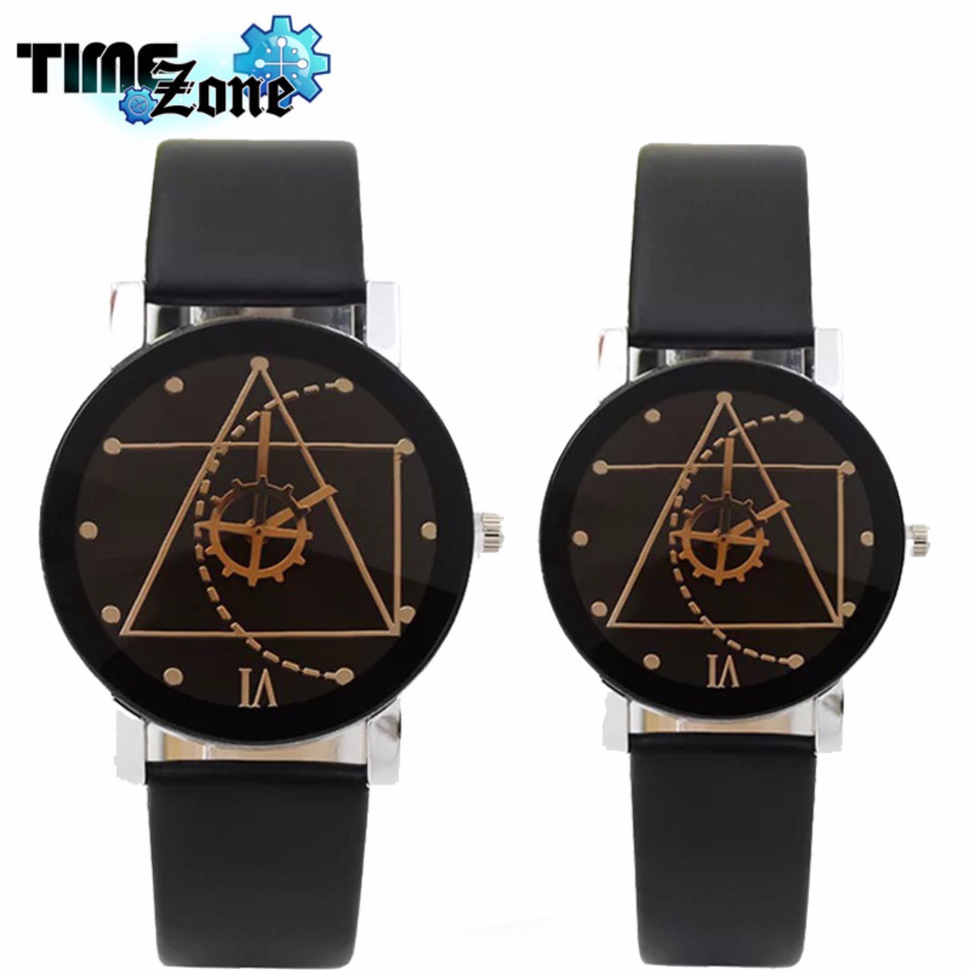 Đồng hồ cặp dây da TimeZone Thạch Anh Tam Giác NewFashion (Dây Đen, Mặt Đen)