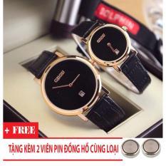 Đồng hồ cặp Guou nữ Hàn Quốc cao cấp (Dây Đen, Mặt Đen) + Tặng Kèm Pin Đồng Hồ