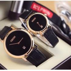 Đồng hồ cặp Guou nữ Hàn Quốc cao cấp (Dây Đen, Mặt Đen) – TimeZone