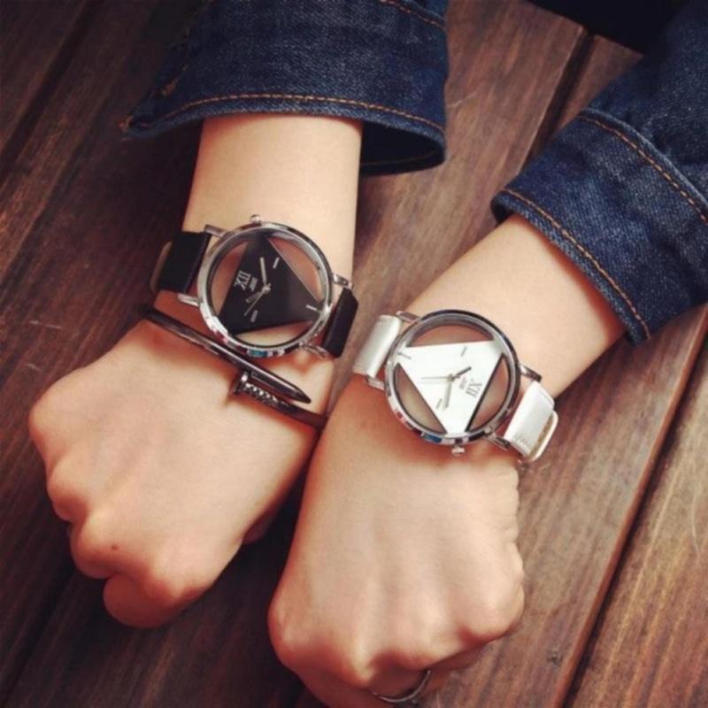 Nơi bán Đồng hồ cặp nam nữ dây da mặt tam giác trong suốt PGH-901 (Đen)