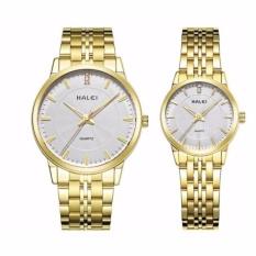 Đồng hồ cặp nam nữ Halei 494 dây vàng mặt trắng