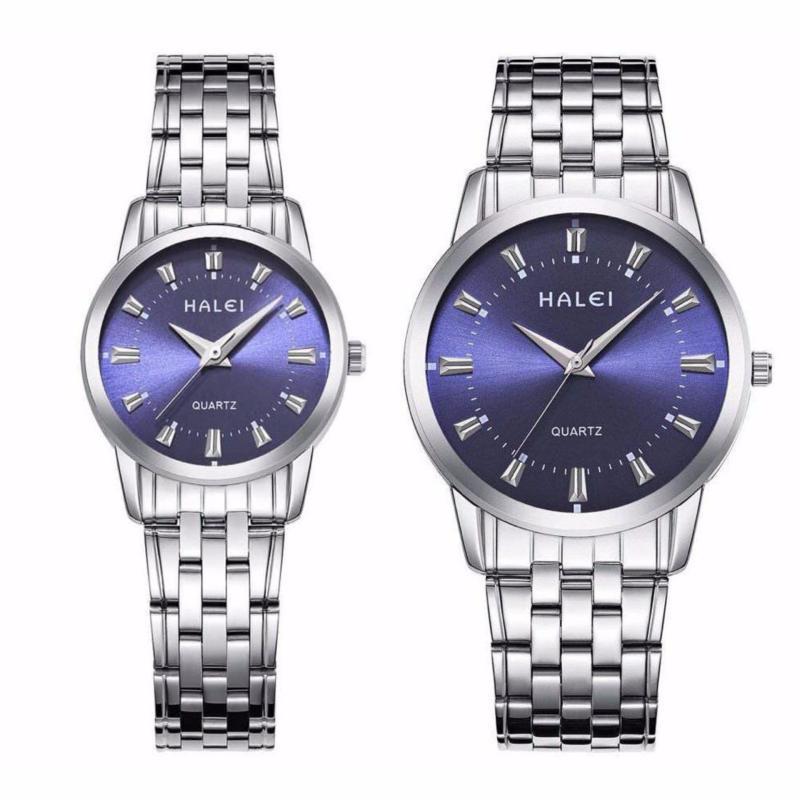 Nơi bán Đồng hồ cặp nam nữ Halei dây trắng mặt xanh