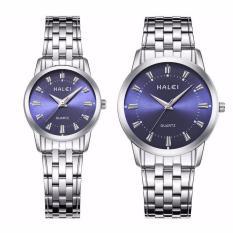 Đồng hồ cặp nam nữ Halei dây trắng mặt xanh
