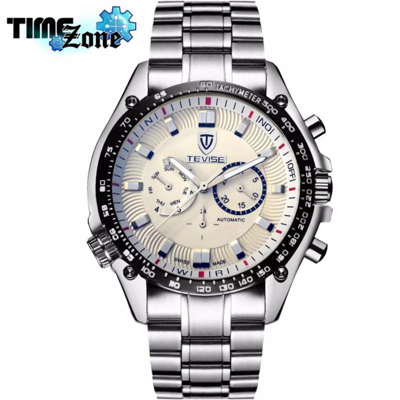 Nơi bán Đồng hồ chạy cơ Automatic nam dây thép TimeZone thương hiệu TEVISE Cao Cấp Golden Watch (Dây Demi, Mặt Trắng)