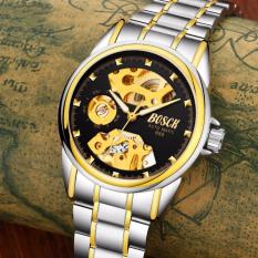 Đồng hồ cơ Automatic dây thép Bosck Golden (Dây Demi, Mặt Đen) + Tặng Kèm Hộp