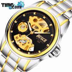 Đồng hồ cơ Automatic dây thép TimeZone Bosck Golden (Dây Demi, Mặt Đen) + Tặng Kèm Hộp