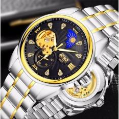 Đồng hồ cơ Automatic nam dây thép Bosck 6537 Golden (Dây Demi, Mặt Đen) + Tặng Kèm Hộp
