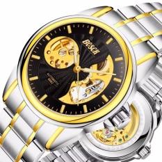 Đồng hồ cơ Automatic nam dây thép Bosck 6682 Demi Golden (Dây Demi, Mặt Đen) + Tặng Kèm Hộp
