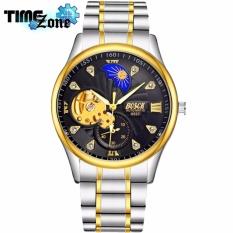 Đồng hồ cơ Automatic nam dây thépTimeZone Bosck 6537 Golden (Dây Demi, Mặt Đen) + Tặng Kèm Hộp
