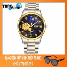 Đồng hồ cơ Automatic nam dây thépTimeZone Bosck 6537 Golden (Dây Demi, Mặt Đen) + Tặng Kèm Mắt Kính Thời Trang Cao Cấp