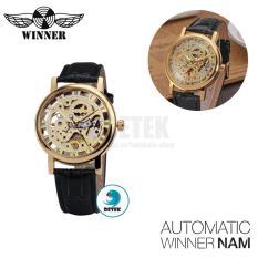 Đồng hồ cơ Automatic nam Winner dây đen mặt vàng