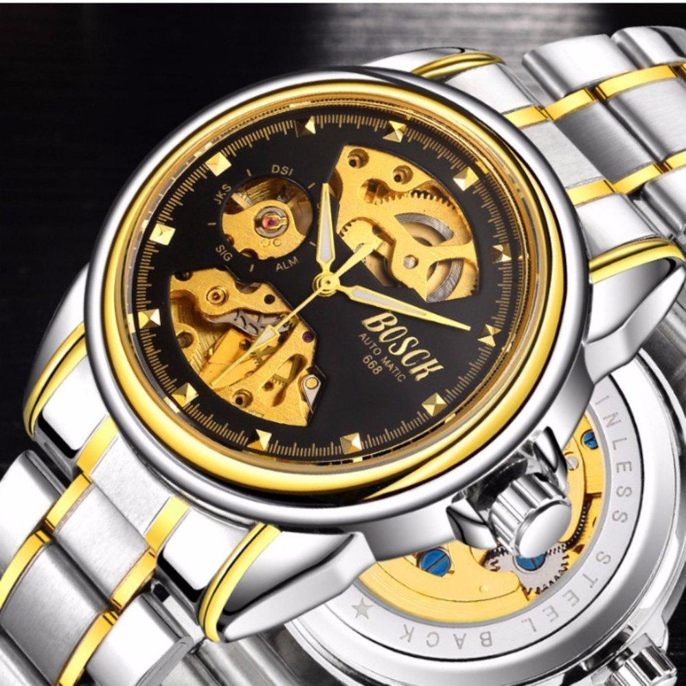Nơi nào bán Đồng hồ nam Bosck 668 máy cơ automatic (Mặt đen dây sọc vàng)