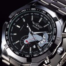 Đồng hồ cơ lộ máy có lịch ngày Winner 9295 (Đen)