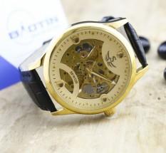 Đồng hồ cơ lộ máy nam dây da cao cấp SEWOR 8784 (Vàng)