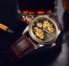 Đồng hồ Cơ nam Bosck Auto Matic mặt đen viền vàng ( Dây màu nâu )